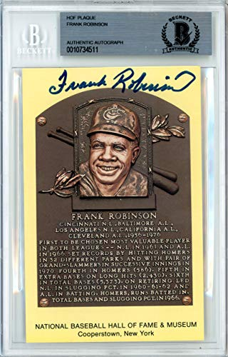 Frank Robinson Signed HOF Plaque Postcard Baltimore Orioles, Cincinnati Reds Memorabilia Beckett Authentic