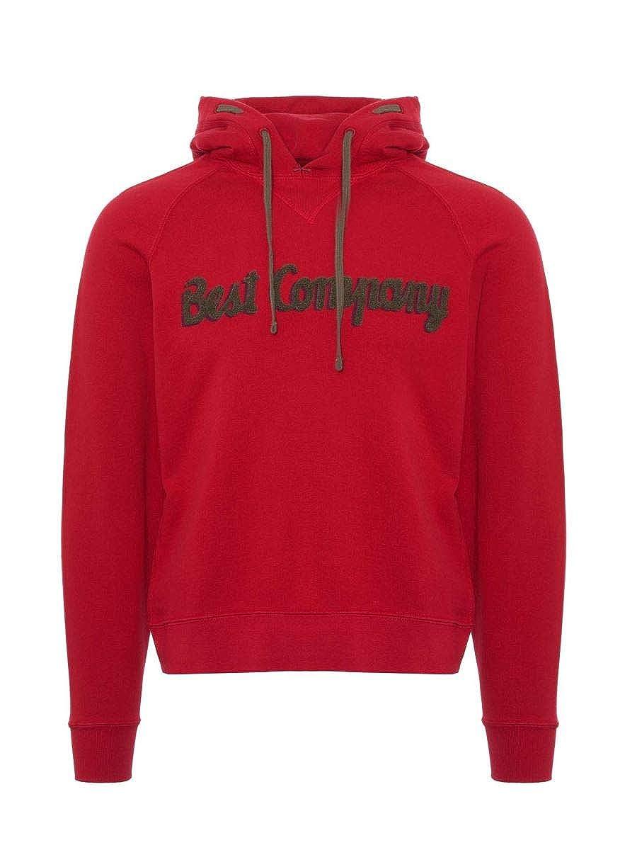 Best Company Sweater mit Kapuze in Baumwolle Rot und Fango