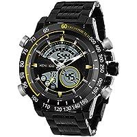 [Patrocinado] kossfer reloj para hombre Pro Diver analógica Swiss Collection cronógrafo dial negro Big Face reloj deportivo impermeable multifunción hombres reloj Digital relojes de pulsera, Plateado