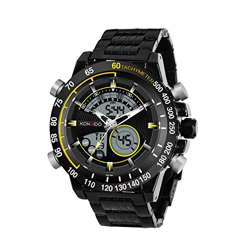 Face Black Swiss (KOSSFER Men's Watch Pro Diver Analog Swiss Collection Chronograph Dial Black Big Face Sports Watch Waterproof Multifunction Men Watch Digital Wrist Watches Silver)