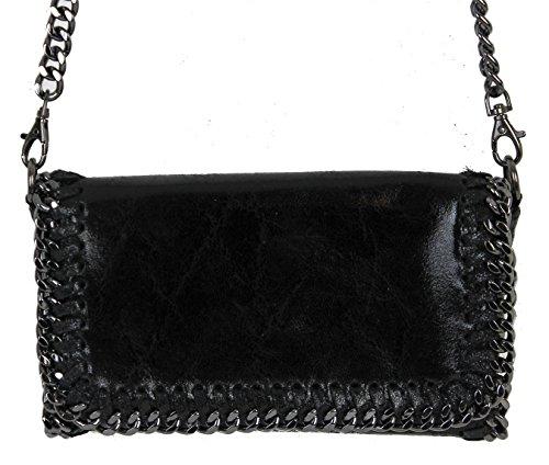 Bolso para mujer tipo clutch con apariencia metálica y brillante cadena, Grau Glitzer Echtleder (gris) - 3110161656 Schwarz Echtleder