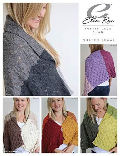 Ella Rae Rustic Lace Quad Shawl Kit - Yarn Pattern to Make Shawl - #01 Everest - Organic Wool Silk Blend