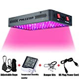 Phlizon Newest Winter 1200W LED Plant Grow Light,with Thermometer Humidity Monitor,with Adjustable Rope,Full Spectrum Double Switch Plant Light for Indoor Plants Veg and Flower- 1200W(10W Leds 120Pcs)