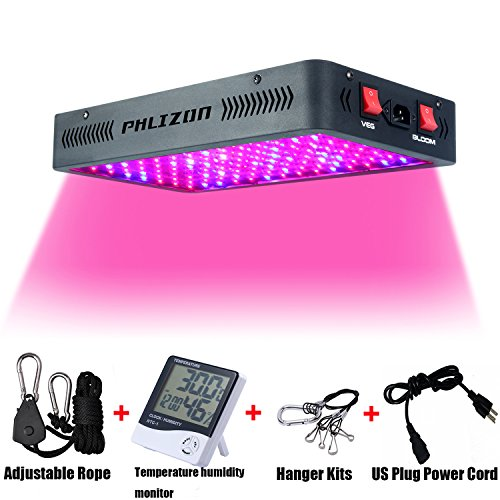 Phlizon Newest Winter 1200W LED Plant Grow Light,with Thermometer Humidity Monitor,with Adjustable Rope,Full Spectrum Double Switch Plant Light for Indoor Plants Veg and Flower- 1200W(10W Leds 120Pcs) by Phlizon