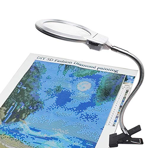 ARTDOT 5D Diamond Painting Magnifying Tools, LED Light with Magnifiers for Diamond Painting, 4X & 6X Magnifier LED Light with Clip and Flexible Neck