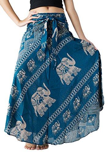 Hippie Plus Size Clothes - Bangkokpants Women's Long Bohemian Hippie Skirt Boho Dresses Gypsy Clothes Elephant One Size (Green, Plus Size)