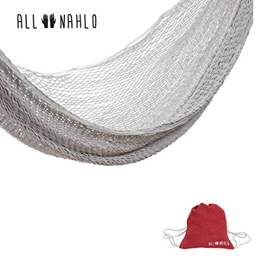 ALL NAHLO Cotton Double Hammock Free Drawstring Portable Carry Bag - Lightweight Hammocks Swing Person Tree Stand Camping Rope Outdoor Tent net Straps Bed Fabric Quilted Patio Kids Mosquito Camp