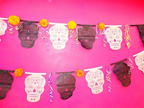 Day of the Dead Decorations, Mexican Papel Picado Banner 13 FT Long LARGE white and black PAPER garland, Dia de los muertos party decorations