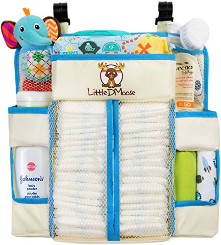 Little DMoose Baby Nursery Organizer and Diaper Caddy with Plastic Back Support and Reinforced Shelves, 15-Inch-by-14-Inch