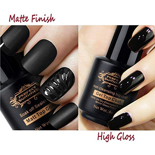 Perfect Summer Matte Top Coat Non Cleansing Top Coat for Gel Nail Polish, Matte Effect High Glossy No Wipe Top Gel, Clear Color, 8ml each