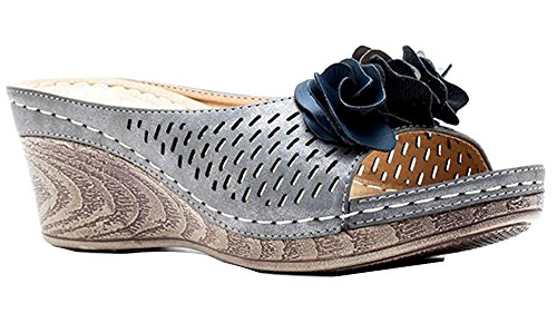 Slide Rosette Gc Wedge Sydney Pewter Women's Shoes Sandals aqqfzvA