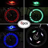 Oumers Bike Spoke Light, 6pcs Waterproof Wheel Light Cycling Spokelit Bicycle Decorate Light with 3 LED Flash Modes Neon Lamps Keep Safe Fun for Night Riding, Great for Your Children