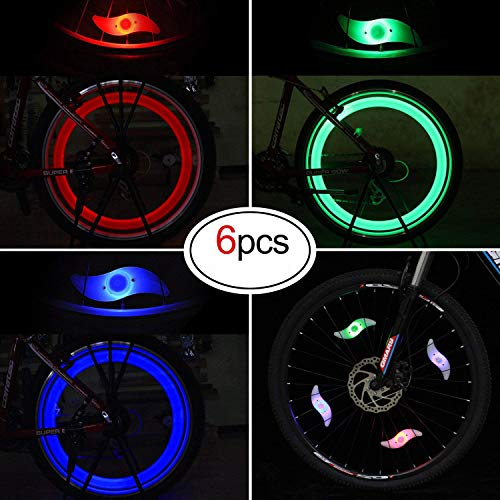 Oumers Bike Spoke Light, 6pcs Waterproof Wheel Light Cycling Spokelit Bicycle Decorate Light with 3 LED Flash Modes Neon Lamps Keep Safe Fun for Night Riding, Great for Your Children for $<!--$7.99-->