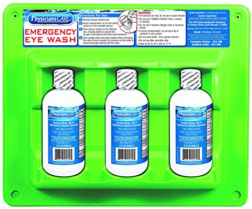 Physicianscare 24 308 Wall Mountable Eye Wash Station With Triple 8 Oz Bottle  13 5  L X 3  W X 11 5  H