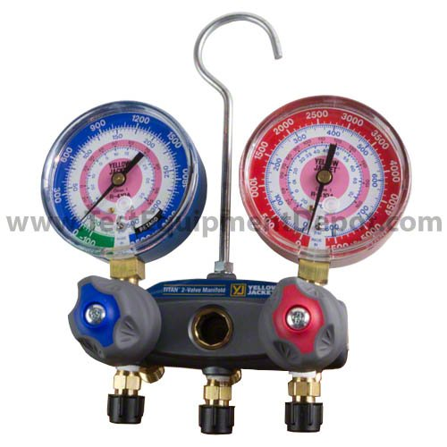 Yellow Jacket 49814 Manifold with 5/16'' Anchor and Service Fittings, kPa/psi Scale, R-410A Refrigerant, Red/Blue Gauges