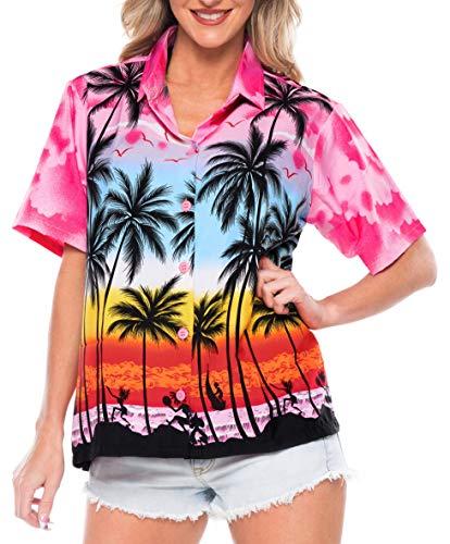 LA LEELA Likre Luau Party Blouses Collar Top Shirt Pink 8 M - US 36 - 38D]()