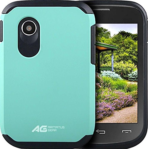 LG 306G Case - Armatus Gear (TM) Slim Hybrid Armor Case Dual Layer Shockproof Phone Cover For LG 306G / LG 305C (TracFone / NET10 / StraightTalk) - Mint / Black