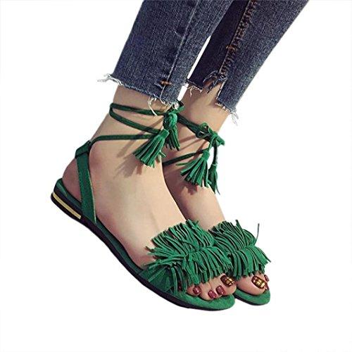 Xmansky Damen Mode Quaste Flache Ferse Anti Schleudern Strand Schuhe Sandalen Slipper Grün