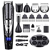 GOOLEEN Beard Trimmer for Men Cordless Mustache Trimmer Hair Clippers 10 in 1 Grooming Trimmer Kit for Nose Ear Facial Hair Precision Trimmer Body Groomer Waterproof USB Rechargeable with Storage Dock