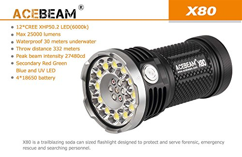 ACEBEAM X80 LED Flashlight 12x Cree XHP50.2 25000 Lumens 5-color Light Beam Flashlights Included 4 3100mah Batteries by Acebeam (Image #4)