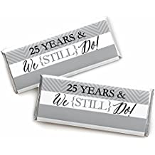 We Still Do - 25th Wedding Anniversary Party - Candy Bar Wrappers Party Favors - Set of 24