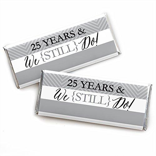 25th Anniversary Favors - We Still Do - 25th Wedding Anniversary Party - Candy Bar Wrappers Party Favors - Set of 24
