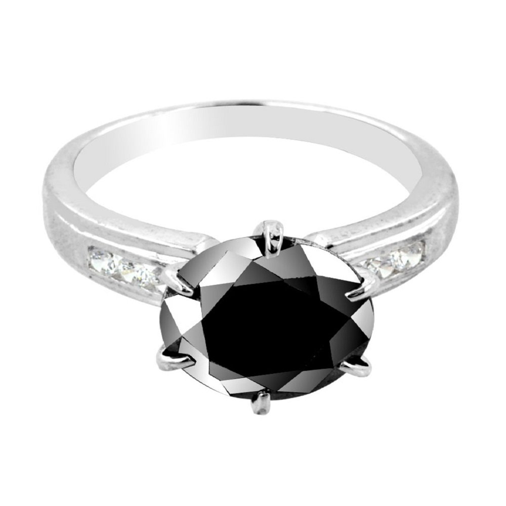 Skyjewels 3 Ct Black Diamond with Diamond Accents Ring in 925 Silver Online Sale