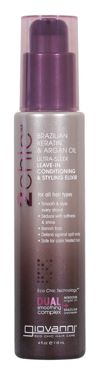2chic Brazilian Keratin & Argan Oil Ultra-Sleek Leave-In Conditioning & Styling 4