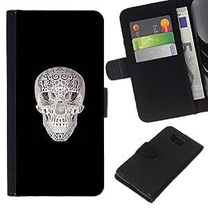 KLONGSHOP // Tirón de la caja Cartera de cuero con ranuras para tarjetas - Cráneo Impreso - Samsung ALPHA G850 //