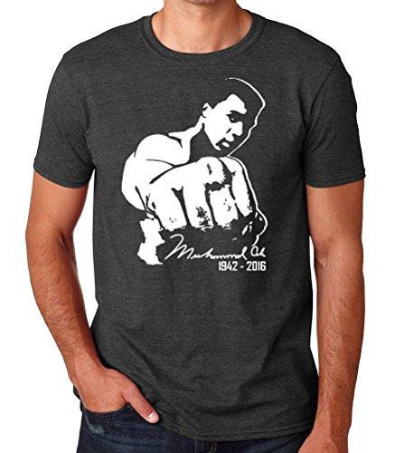 Crazy Happy Tees Men's Mohamed Ali Punch 1942-2016 T-shirt Dark gray (Large)