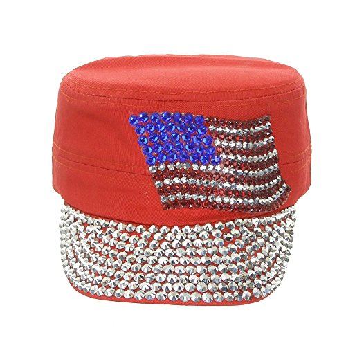 Dive Flag Cap - Something Special Women's Crystal Cadet Cap With American Flag - Usa Flag One Size Red