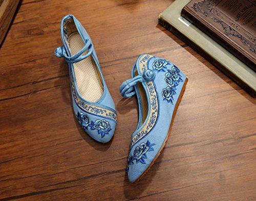 WXT Zapatos bordados, lenguado del tendón, estilo étnico, zapatos de tela femenina, moda, cómodo, casual dentro del aumento Light Blue