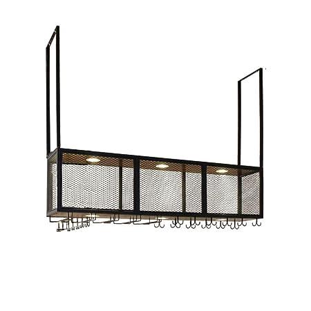 Retro Wood Wall Shelf Metal Iron Grid Ceiling Rack Storage Wine