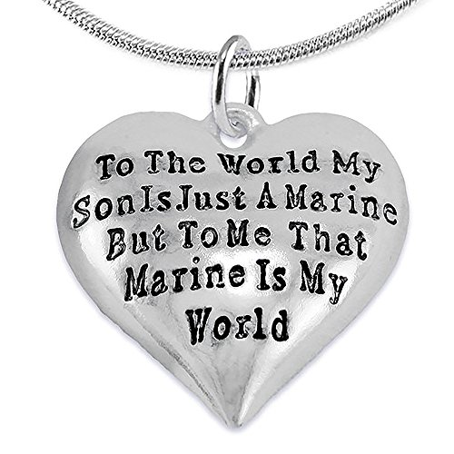 Cardinali Jewelry Marine Mom, My Son, Is My World Necklace, Hypoallergenic, Safe- Nickel, Lead and Cadmium Free