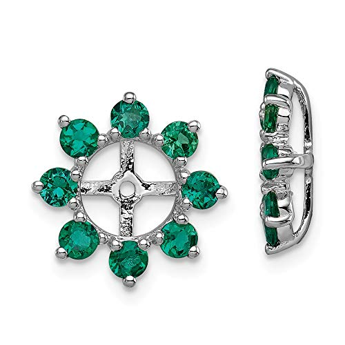 FB Jewels Sterling Silver Rhodium Created Emerald Earring - Womens Jacket Emerald