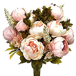 Hmxpls Vintage Artificial Peony Silk Flowers Bouquet, Craft Fake Flowers Floral Decor Glorious Moral for Home Dining-Table Hotel DIY Party Marriage Wedding Christmas Decoration (Light Pink) 89