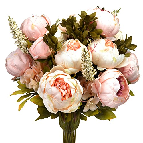 (Hmxpls Vintage Artificial Peony Silk Flowers Bouquet, Craft Fake Flowers Floral Decor Glorious Moral for Home Dining-Table Hotel DIY Party Marriage Wedding Christmas Decoration (Light Pink))