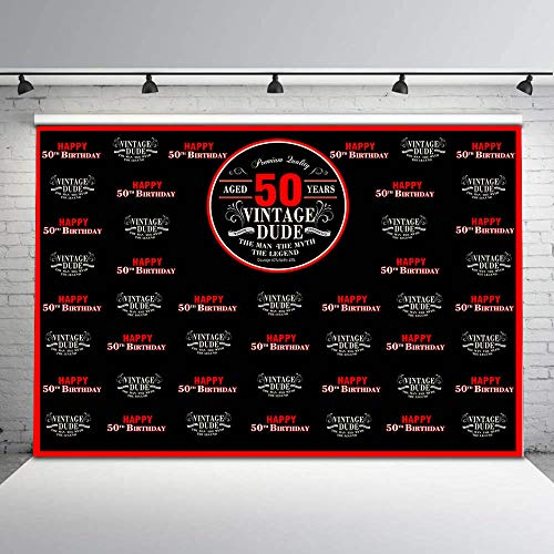 (Mehofoto 8x6ft Vintage Dude Party Photo Backdrop Happy 50th Birthday Party Background Milestone Step and Repeat Vintage Dude Red Photography)