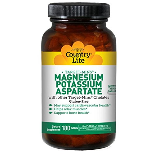 Country Life Target Mins - Magnesium Potassium Aspartate, for Cardiovascular Health - 180 Tablets (Magnesium Aspartate)