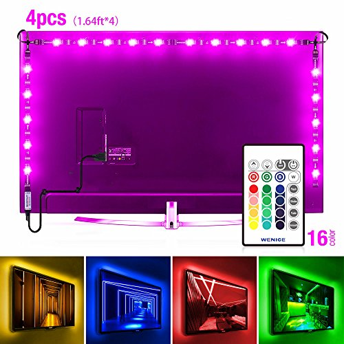 WENICE Bias lighting for hdtv usb led backlight strip multi color rgb with 44key remote control for flat screen tv