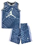 Nike Air Jordan Jumpman Little Boys' 2-Piece Top and Shorts Outfit Set (5, French Blue Swirl)