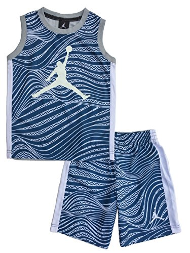 2 Piece Basketball Shorts (Nike Air Jordan Jumpman Little Boys' 2-Piece Top and Shorts Outfit Set (5, French Blue Swirl))