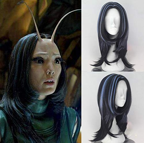 IVY HAIR Avengers Infinity War Mantis Cosplay Wig Long Natural Wavy Black Highlights Blue Synthetic Hair Wig Anime Costume Halloween Wigs for Women(Free Wig Cap)