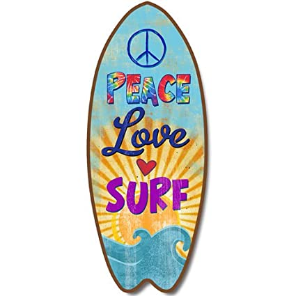 Nueva tabla de surf placa paz amor Surf olas signo pared Art Coastal playa Decor