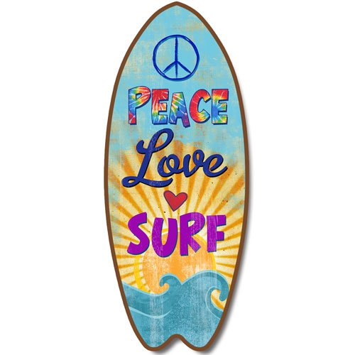 Amazon.com: New Surfboard Plaque Peace Love Surf Waves Sign Wall Art  Coastal Beach Decor: Home U0026 Kitchen