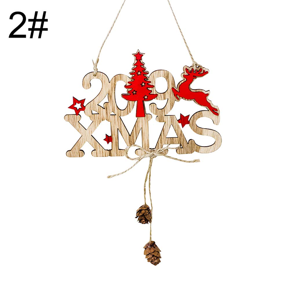 Dds5391 Novelty Christmas 2019 New Year Hollow Wooden Hanging Ornament Xmas Tree Door Decor Gift - 2#