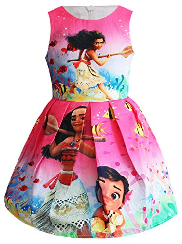 (WNQY Moana Little Girls Printed Princess Dress Cartoon Party Dress (Rose,110/4-5Y))