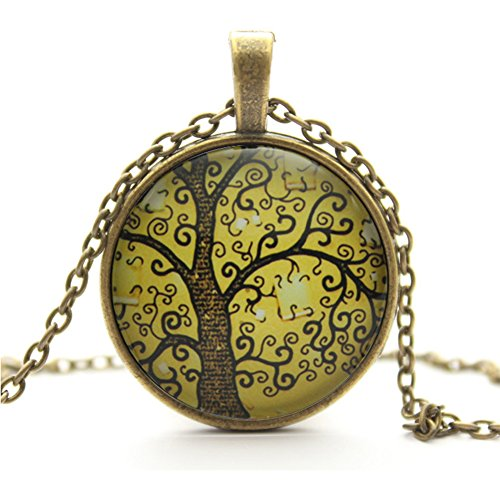MAKIYO Life Tree Pendant Necklace, Art Tree Glass Cabochon Necklace, Bronze Chain Vintage Choker Necklace, Lady's Retro pendant necklace (E)