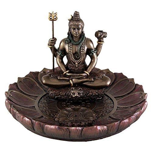 Hindu God Shiva in Meditation Round Incense Holder Plate Incense Burner
