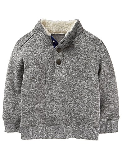 Button Mock Sweater - Crazy 8 Baby Boys Long Sleeve Mock Button Pullover, Heather Grey, 6-12 MO